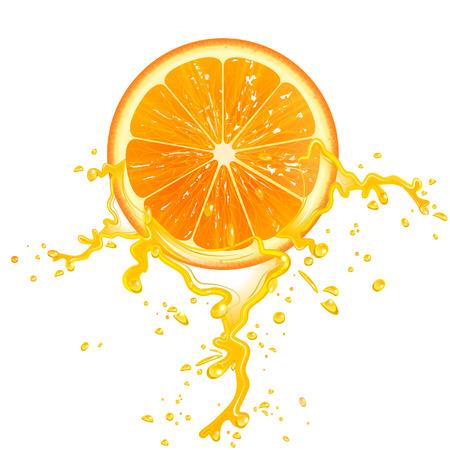 slice of orange juice with splashes
