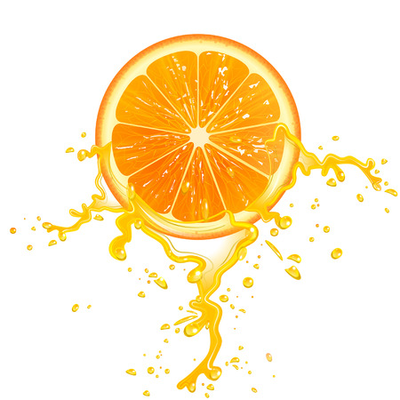 slice of orange juice with splashes