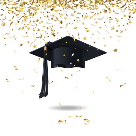 a graduate: graduate cap and golden confetti