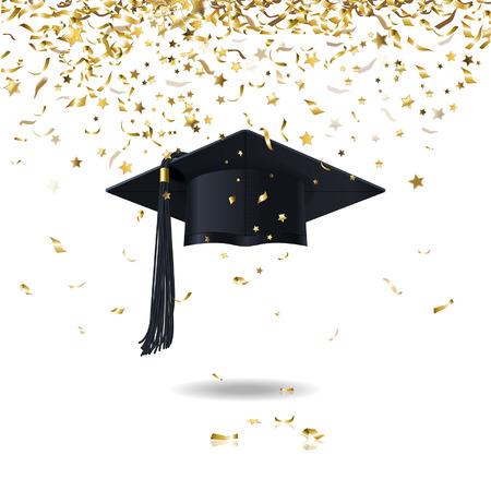 gorros de graduacion: PAC graduado y confeti de oro Vectores