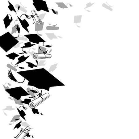 graduate caps  and diploma on a white background Vector
