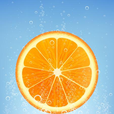soda splash: orange in water with bubbles