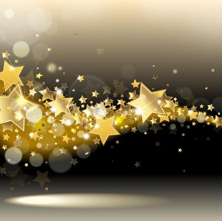 gold swirls: stream of stars on a dark background Illustration