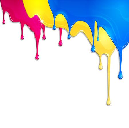 pintura derramada: pintura derramada sobre un fondo blanco Vectores
