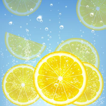 lemon water: lemonade with lemon and bubbles Illustration