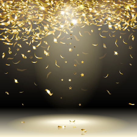 gold confetti on a dark background Ilustracja