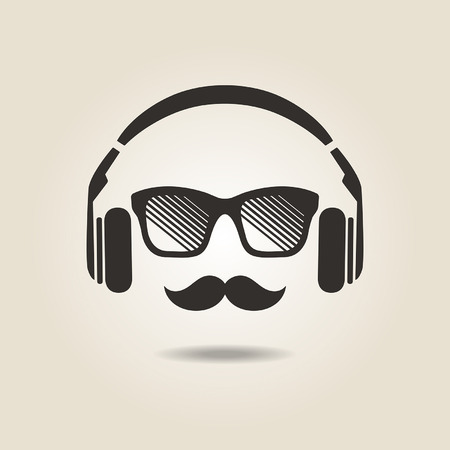 headphones icon: hipster style icon with headphones