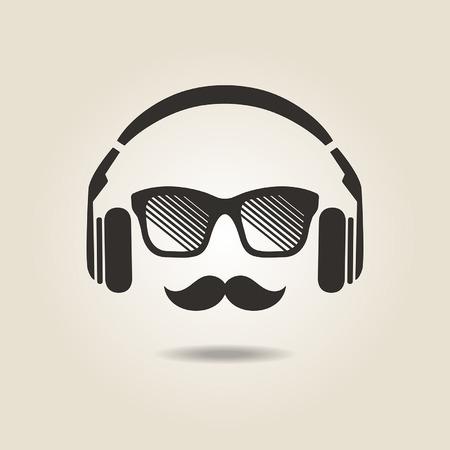 auriculares: icono de estilo inconformista con los auriculares Vectores