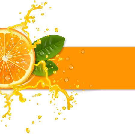 fruta tropical: fondo naranja fresca con salpicaduras