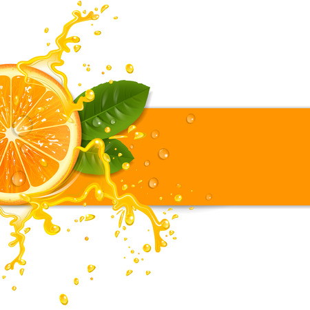 orange juice: fresh orange background with splashes Illustration