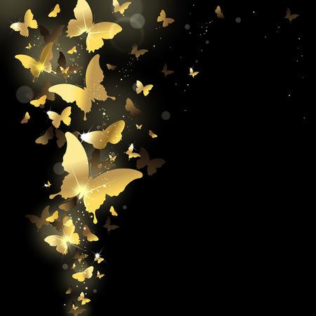 rejoicing: fuochi d'artificio di farfalle d'oro su uno sfondo scuro Vettoriali