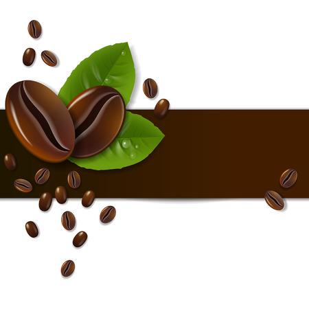 chicchi di caff�: sfondo di chicchi di caff� con foglie