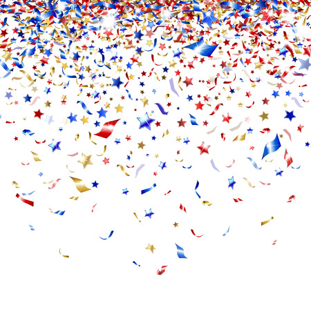 colored confetti on white background