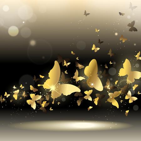 rejoicing: turbinio di farfalle d'oro su uno sfondo scuro Vettoriali