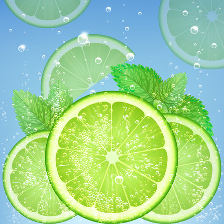 mint leaves: fresh lime in water with bubbles