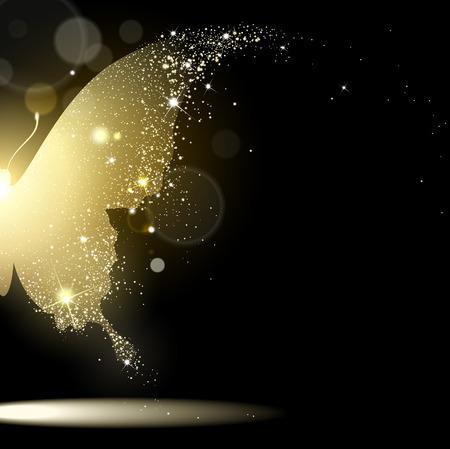 preto: borboleta dourada no fundo preto Ilustração