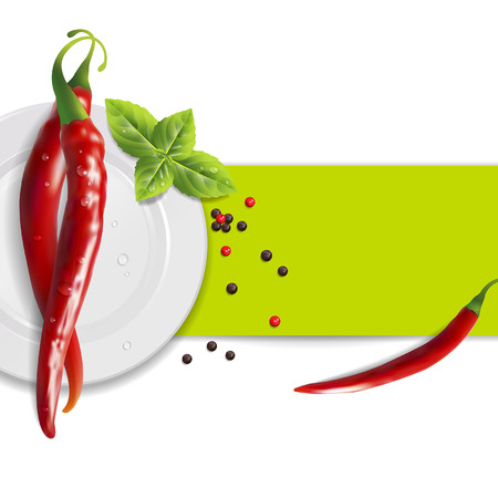 background of hot pepper and basil leaves Illustration