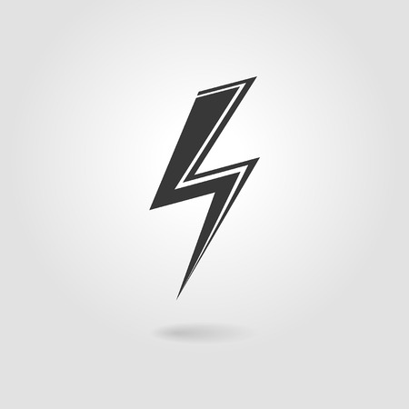 electric shock: lightning icon on a gray background Illustration