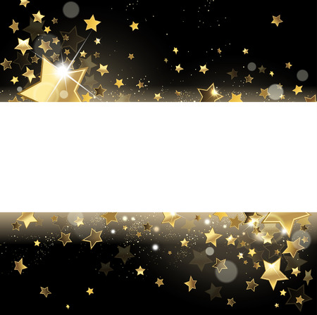 banner with gold glittering stars