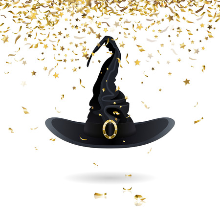 gold buckle: carnival witch hat with confetti Illustration