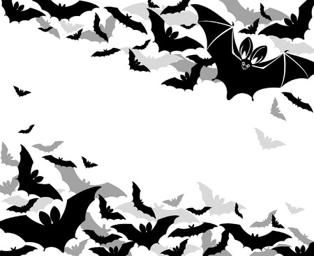 halloween greetings: background with bats halloween greetings Illustration