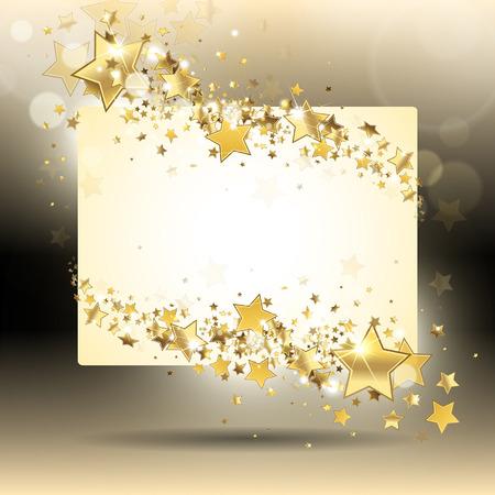 banner with gold stars on a dark background Stock Illustratie