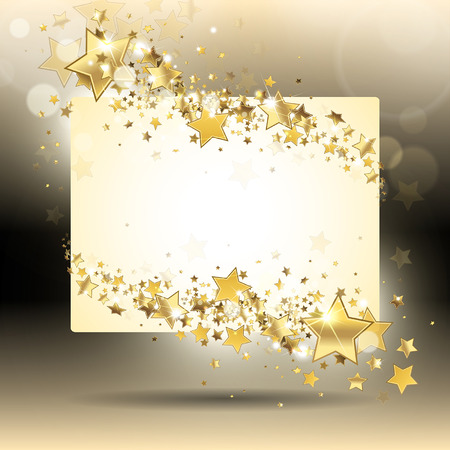 banner with gold stars on a dark background Illustration