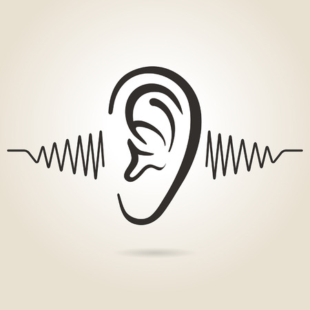 listening to people: ear icon on light background