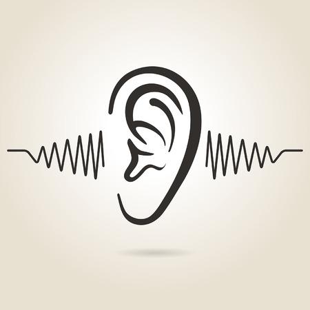 interacci�n: icono de la oreja sobre fondo claro Vectores