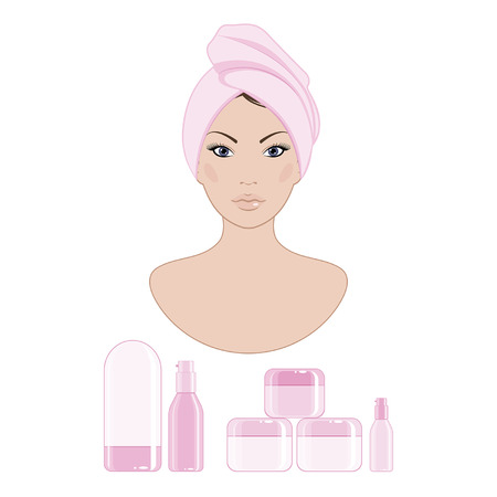 facial painting: cosmetics for a womans face Illustration