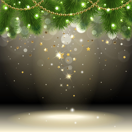 Christmas background with confetti stars Illustration