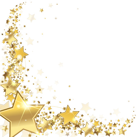gold design: frame gold stars on a white background