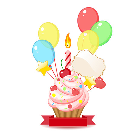cartoon birthday cake: cupcake with candles and balloons