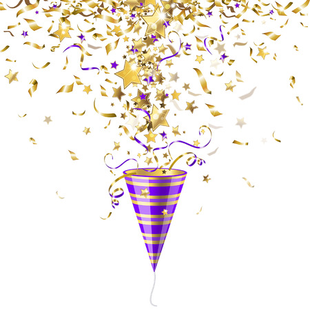 purple stars: Party poppers with gold confetti on a white background