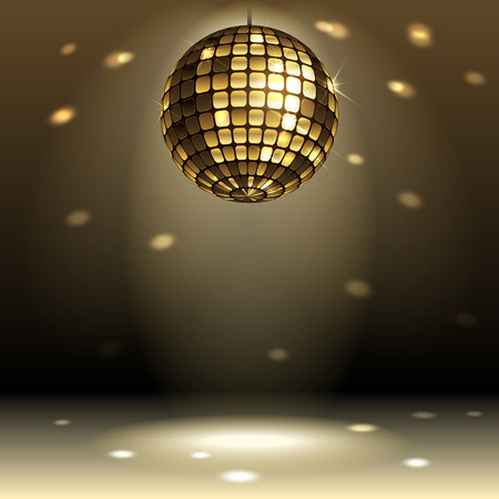 computer dancing: gold disco ball on dark background Illustration