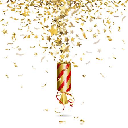 fiesta: popper del partido con confeti de oro Vectores