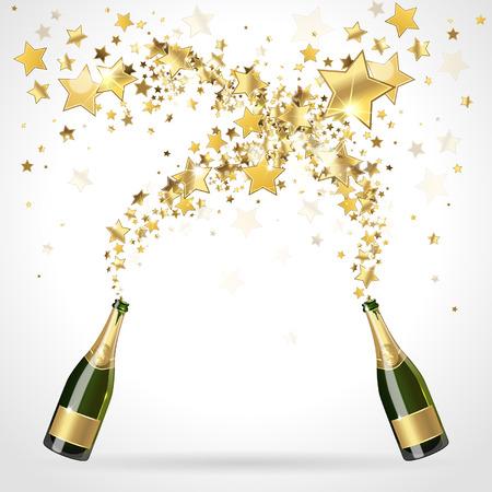 botella champagne: saludo de oro estrellado de Champagne Vectores