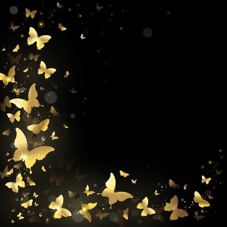 Frame met gouden vlinders op een zwarte achtergrond Stockfoto - 33411180