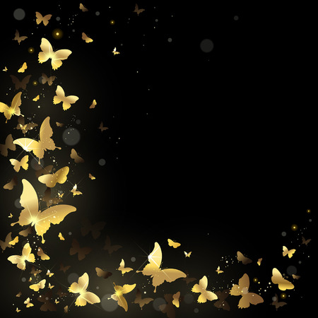 frame with gold butterflies on a black background Vectores