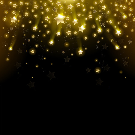 shiny black: salute of gold stars on a black background