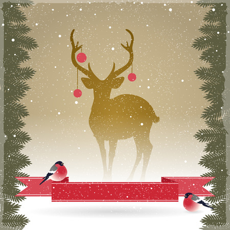 reindeer silhouette: Christmas card with a deer and bullfinches