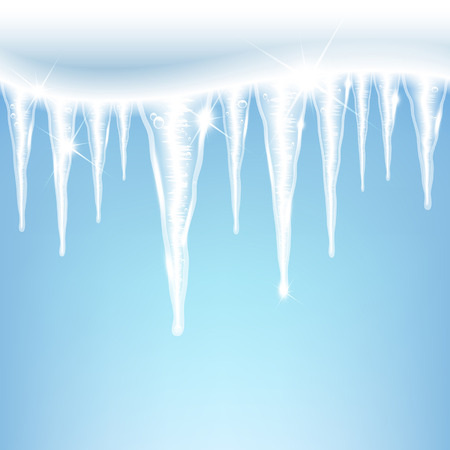 glittering icicles on a blue background