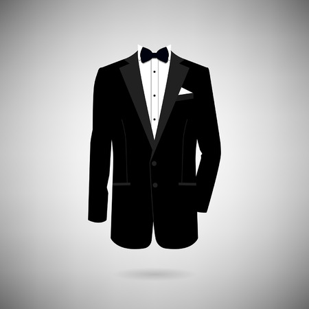 tux: icon tuxedo on a light background Illustration