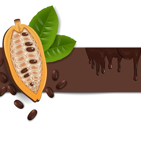 background with cocoa beans and chocolate