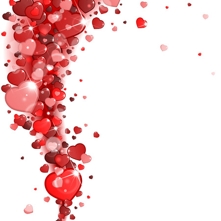 background of red hearts vortex Illustration