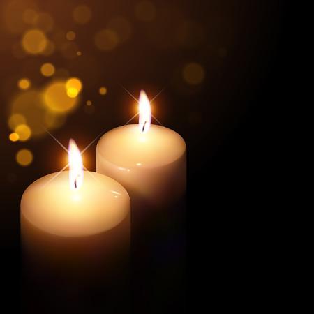 flickering candles on a dark background