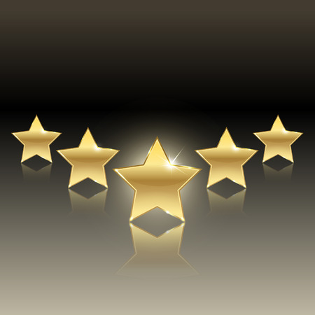 five stars: rating of five stars on a dark background