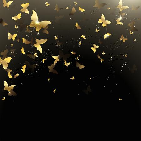 background of golden confetti butterflies