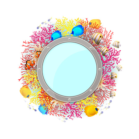 Marine background with coral and fish