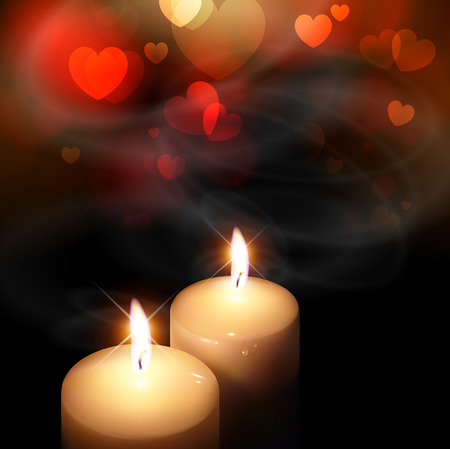 candle flame: background on Valentines Day with hearts and candles